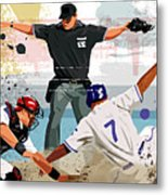 Baseball Player Safe At Home Plate Metal Print by Greg Paprocki