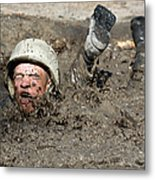 Basic Cadet Trainees Attack The Mud Pit Metal Print by Stocktrek Images