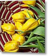 Basket Full Of Tulips Metal Print by Garry Gay