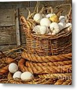 Basket Of Eggs On Straw Metal Print by Sandra Cunningham