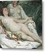 Bathers Or Two Nude Women Metal Print by Gustave Courbet