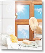 Bathroom Interior Still Life Metal Print by Amanda Elwell