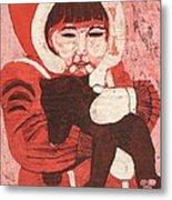 Batik -girl W Bear- Metal Print by Lisa Kramer