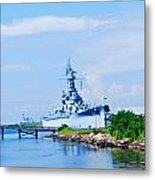 Battle Ship In Color Metal Print by Malania Hammer