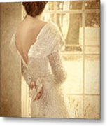 Beautiful Lady In Sequin Gown Looking Out Window Metal Print by Jill Battaglia