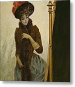 Before The Swing Mirror Metal Print by Emile Galle