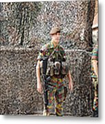 Belgian Soldier On Guard Metal Print by Luc De Jaeger