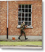 Belgian Soldiers On Patrol Metal Print by Luc De Jaeger