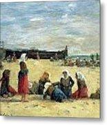 Berck - Fisherwomen On The Beach Metal Print by Eugene Louis Boudin