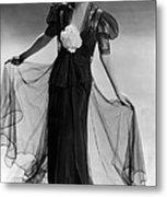 Bette Davis Wearing Black Taffeta Gown Metal Print by Everett