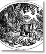 Bewick: Man And Bear Metal Print by Granger