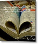 Bible Heart Scripture Art 2 Timothy 2 Metal Print by Cindy Wright