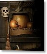 Big Pumpkin With Black Witch Hat And Broom Metal Print by Sandra Cunningham