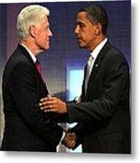 Bill Clinton, Barack Obama At A Public Metal Print by Everett