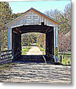 Billie Creek Village Covered Bridge Metal Print by Robin Pross