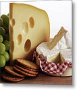 Biscuits, Grapes And Continental Cheeses Metal Print by Simon Battensby