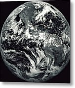 Black And White Image Of Earth Metal Print by Stocktrek Images