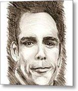Black And White Pencil Portrait Metal Print by Mario Perez