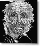 Black And White With Pen And Ink Drawing Of A Old Man  Metal Print by Mario  Perez