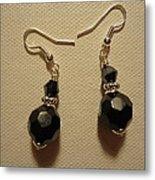 Black Sparkle Drop Earrings Metal Print by Jenna Green