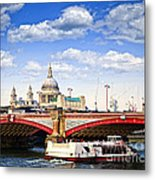 Blackfriars Bridge And St. Paul's Cathedral In London Metal Print by Elena Elisseeva