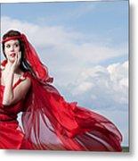 Blown Away Woman In Red Series Metal Print by Cindy Singleton