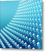 Blue Abstract Cubes In A Curve Metal Print by Ralf Hiemisch