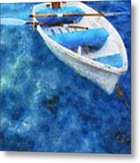 Blue And White. Lonely Boat. Impressionism Metal Print by Jenny Rainbow