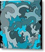 Blue Creatures Metal Print by Barbara Marcus
