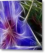 Blue Hibiscus Fractal Panel 1 Metal Print by Peter Piatt