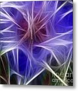 Blue Hibiscus Fractal Panel 2 Metal Print by Peter Piatt