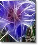 Blue Hibiscus Fractal Panel 5 Metal Print by Peter Piatt