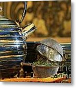 Blue Japanese Teapot Metal Print by Sandra Cunningham