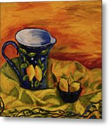 Blue Pitcher With Lemons Metal Print by Phyllis  Smith