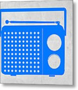 Blue Transistor Radio Metal Print by Naxart Studio
