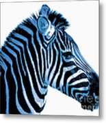Blue Zebra Art Metal Print by Rebecca Margraf