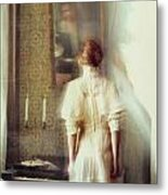 Blurry Image Of A Woman In Vintage Dress  Metal Print by Sandra Cunningham