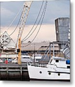 Boat And Old Crane Reflections Metal Print by David Lade