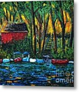 Boat Dock In The Evening Metal Print by Reb Frost