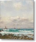 Boats At Sea Metal Print by William Lionel Wyllie