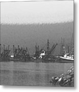 Boats In Harbor Charcoal Metal Print by Chalet Roome-Rigdon
