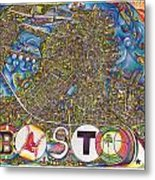 Boston Art Map Metal Print by Jonathan 'DiNo' DiNapoli