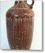 Bottle Of Deep Red Clay With White Slip Decoration And A Handle Metal Print by Carolyn Coffey Wallace