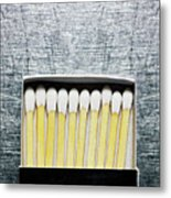 Box Of Wooden Matches On Stainless Steel. Metal Print by Ballyscanlon
