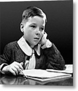 Boy Sitting At Desk W/book Metal Print by George Marks