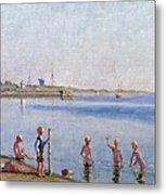 Boys At Water's Edge Metal Print by Johan Rohde