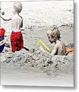 Boys Will Be Boys At The Beach Nj Metal Print by Gwenn Dunlap
