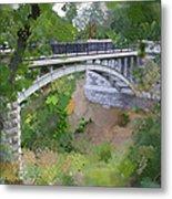 Bridge At Lake Park Metal Print by Geoff Strehlow