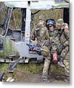 British Soldiers Help A Simulated Metal Print by Andrew Chittock