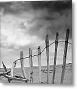 Broken Fence In Dune, South Shields Metal Print by John Short